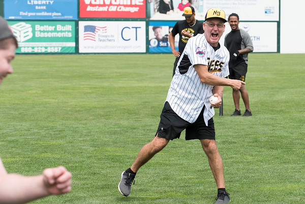 07/02/19 Wesley Bunnell | Staff The New Britain Bees welcomed group home members to New Britain Stadium as part of the Beautiful Lives Project on Tuesday July 2, 2019.Bees players and coaches played wiffle ball games on the outfield grass with the participants. Bees hitting coach Chuck Stewart makes the out call.