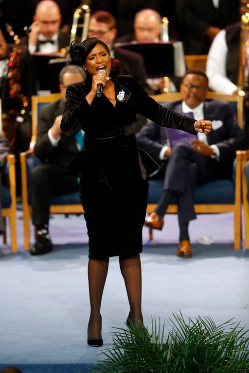 . Jennifer Hudson performs during the funeral service for Aretha Franklin at Greater Grace Temple, Friday, Aug. 31, 2018, in Detroit. Franklin died Aug. 16, 2018 of pancreatic cancer at the age of 76. (AP Photo/Paul Sancya)