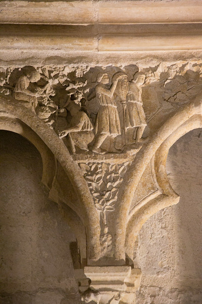 Bourges Cathedral West Facade Spandrel Noah Harvesting Grapes.