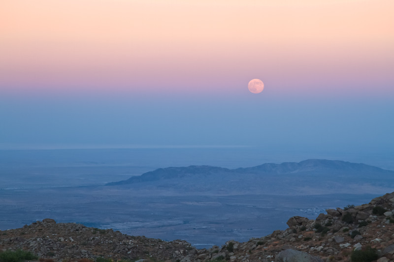 """Full Moon over Anza Borrego"", Earth shadow lays over the Salton Sea as the full moon rises."