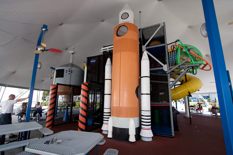 Play area (shaded!) next to the Rocket Garden at the Kennedy Space Center Visitor Center