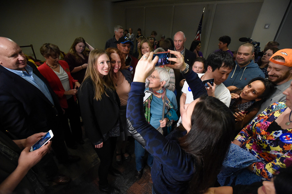 . DENVER, CO - FEBRUARY 18: Chelsea Clinton pauses to meet and take photos with supporters after speaking to about 100 supporters and students, along with actress America Ferrera during a campaign stop for Hillary Clinton in Denver February 18, 2016 at the Anderson Academic Commons. (Photo By John Leyba/The Denver Post)