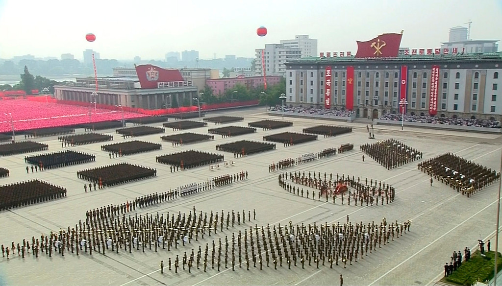 . In this image taken from video North Korean soldiers participate in a mass military parade to celebrate the 65th anniversary of the country\'s founding, Monday, Sept. 9, 2013, in Pyongyang, North Korea. (AP Photo/KRT via AP Video)