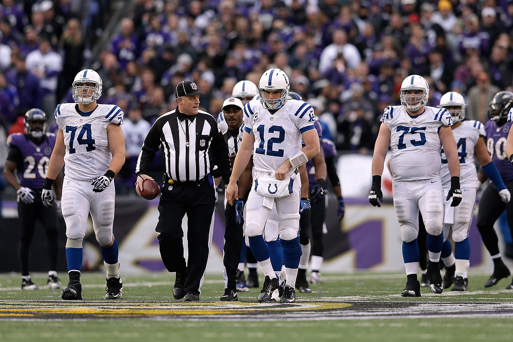 Description of . Andrew Luck #12 of the Indianapolis Colts and his teammates walk up field against the Baltimore Ravens during the AFC Wild Card Playoff Game at M&T Bank Stadium on January 6, 2013 in Baltimore, Maryland.  (Photo by Rob Carr/Getty Images)