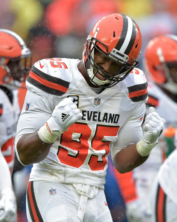 . Cleveland Browns defensive end Myles Garrett (95) reacts during the first half of an NFL football game against the Pittsburgh Steelers, Sunday, Sept. 9, 2018, in Cleveland. (AP Photo/David Richard)