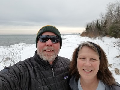 Winter hike at Negwagen State Park, MI