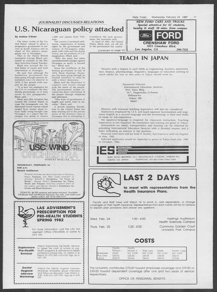 Daily Trojan, Vol. 91, No. 29, February 24, 1982