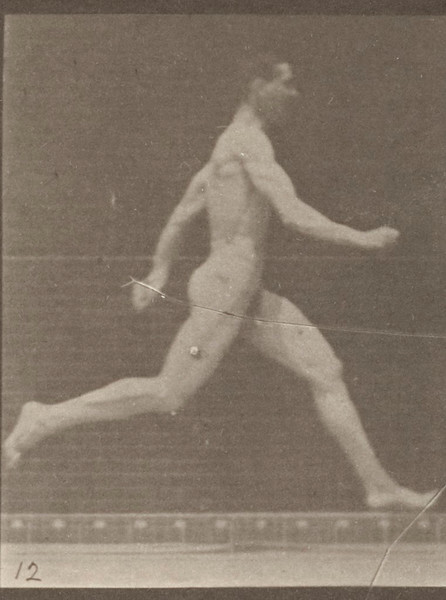 Nude man running at full speed