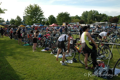 2009 Ottawa Riverkeeper Triathlon. Bicycles and cyclists in the transition area.  © Rob Huntley