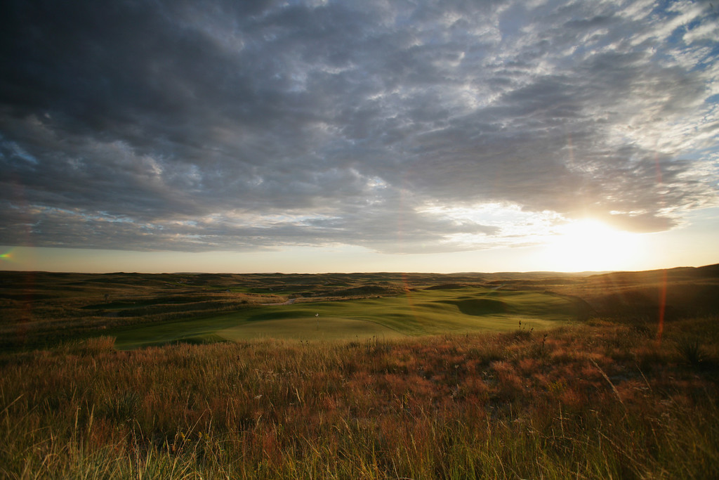 . Nebraska # 6.  A view at sunrise from behind the green on the 402 yard par 4, 9th hole on the Sand Hills Golf Club,  on September 14, 2005 in Mulllen, Nebraska. (Photo by David Cannon/Getty Images)