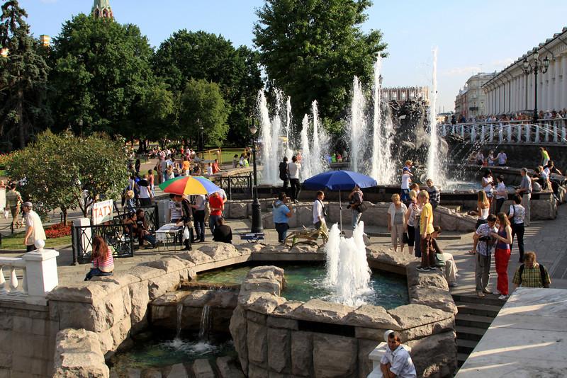 Fountains within Alexandrovsky Gardens, near the Kremlin.