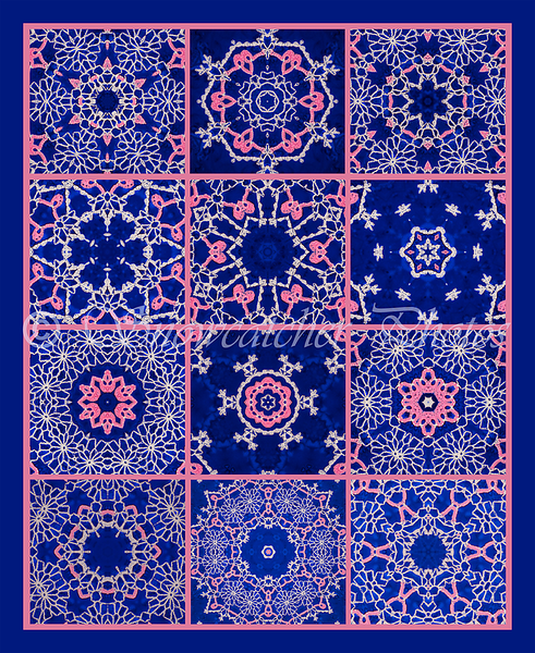 Boy, was this ever a bear to upload!!!<br /> My newest digital quilt,<br /> from kaleidoscoping my pink ribbon snowflake.<br /> Notice the little alien heads and hearts created by the Photoshop filter!