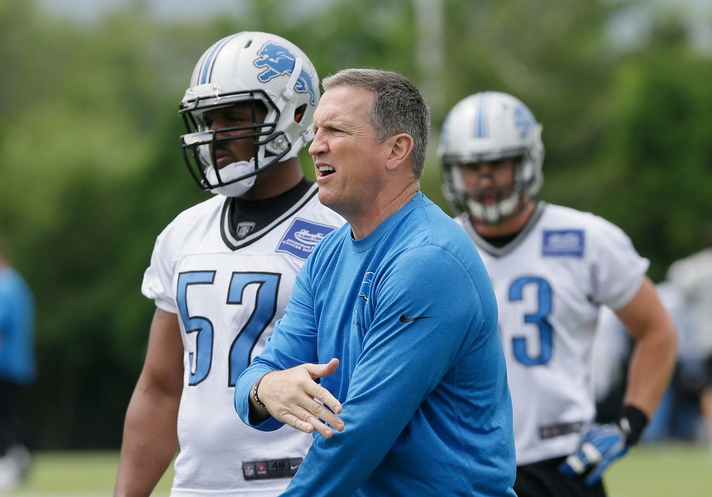 . Detroit Lions linebackers coach Bill Sheridan instructs players during an NFL football minicamp in Allen Park, Mich., Wednesday, June 11, 2014. (AP Photo/Carlos Osorio)