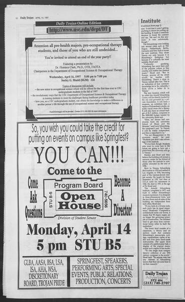 Daily Trojan, Vol. 130, No. 57, April 14, 1997