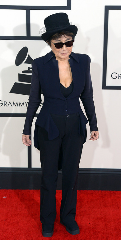 . Yoko Ono arrives at the 56th Annual GRAMMY Awards at Staples Center in Los Angeles, California on Sunday January 26, 2014 (Photo by David Crane / Los Angeles Daily News)