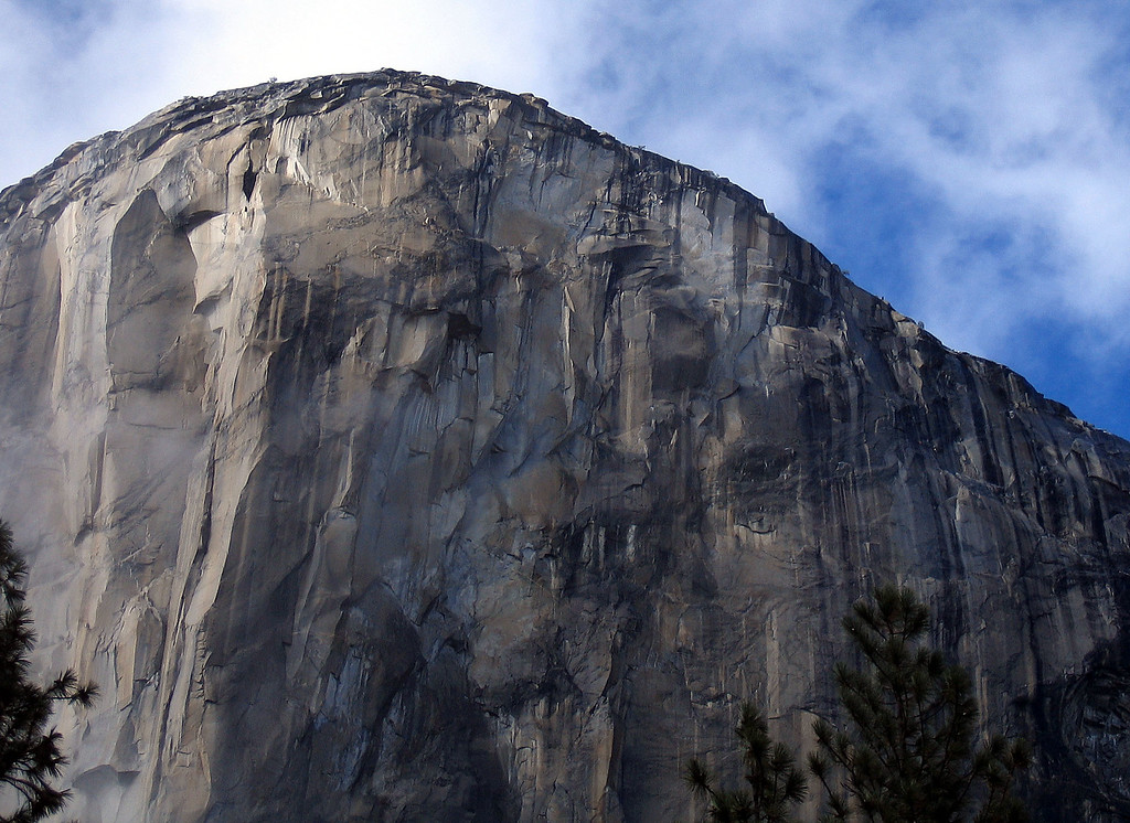 . This Oct. 20, 2004 file photo shows the climbing face of El Capitan in Yosemite National Park. Two men, Kevin Jorgeson and Tommy Caldwell, are roughly halfway through climbing El Capitan: a free climb of a half-mile section of exposed granite in California\'s Yosemite National Park. El Capitan, the largest monolith of granite in the world, rises more than 3,000 feet above the Yosemite Valley floor. (AP Photo/Ben Margot, File)