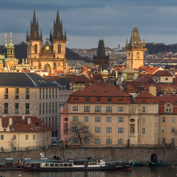City viewed from Lesser Town Bridge Towers, Prague, Czech Republic