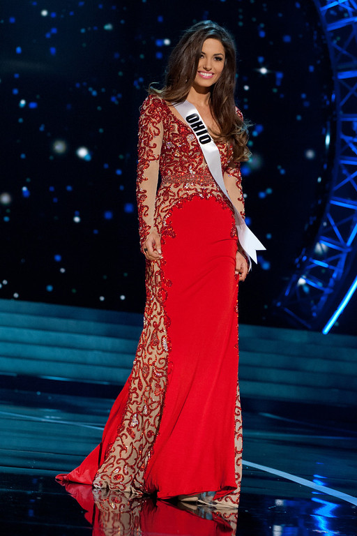 . This photo provided by the Miss Universe Organization, Miss Ohio USA 2013, Kristin Smith competes in her evening gown during the 2013 Miss USA Competition Preliminary Show  in Las Vegas  on Wednesday June 12, 2013.  She will compete for the title of Miss USA 2013 and the coveted Miss USA Diamond Nexus Crown on June 16, 2013.  (AP Photo/Miss Universe Organization, Patrick Prather)