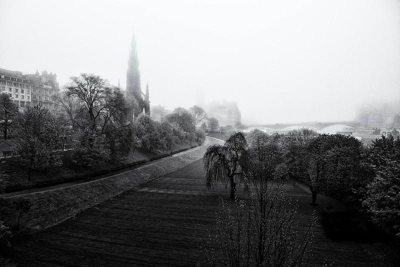 Walking in a fog. Edinburgh , Scotland