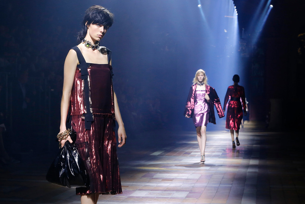 . A model presents a creation as part of Lanvin\'s ready-to-wear Spring/Summer 2014 fashion collection, presented Thursday, Sept. 26, 2013 in Paris. (AP Photo/Jacques Brinon)