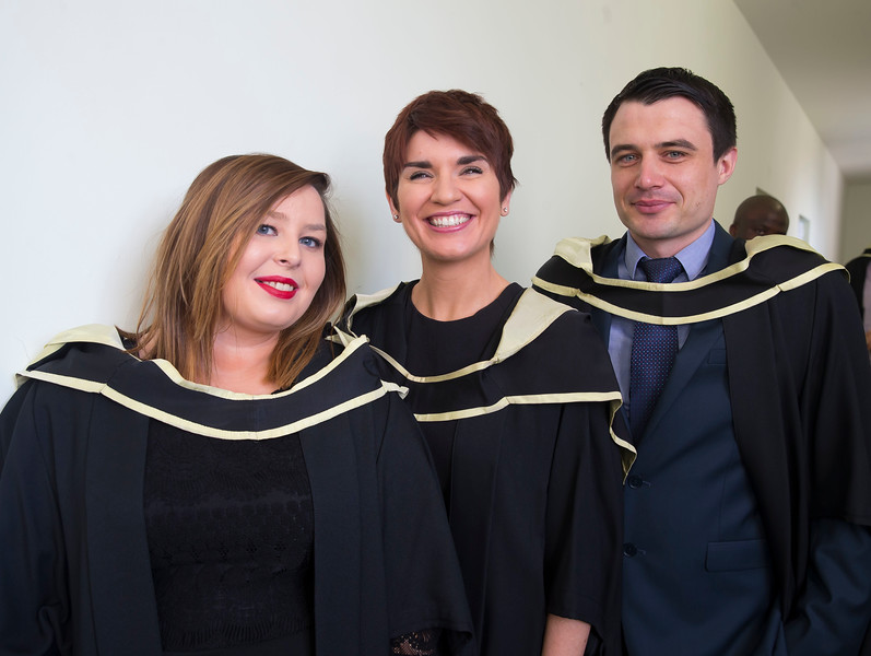 29/10/2015. Waterford Institute of Technology Conferring. Pictured are Denise Sheehy, Carlow, Rosie Roche, Kilkenny and John Ryan Wexford Town who Graduated Master of Science in Global Financial Information Systems. Picture: Patrick Browne