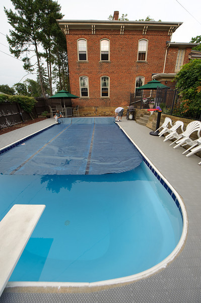 Opening the pool for reunion weekend.