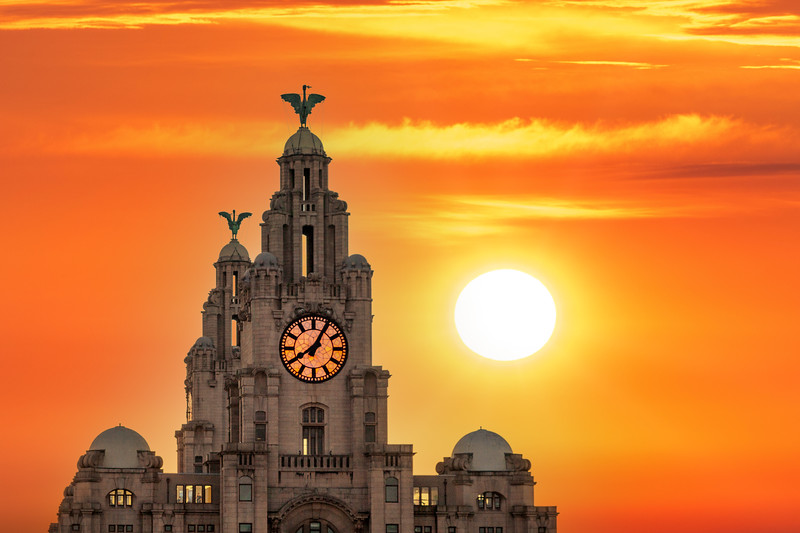 Sunset over the Royal Liver Building, Liverpool