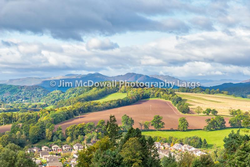 Crieff Hillside and new housing Scotland