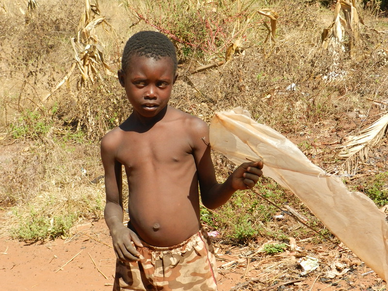 137 - Kite flier - Zambian village - Anne Davis
