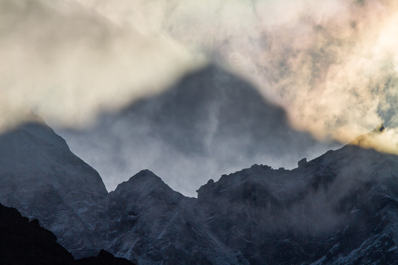 View of volcano spewing ash and smoke - Nepal