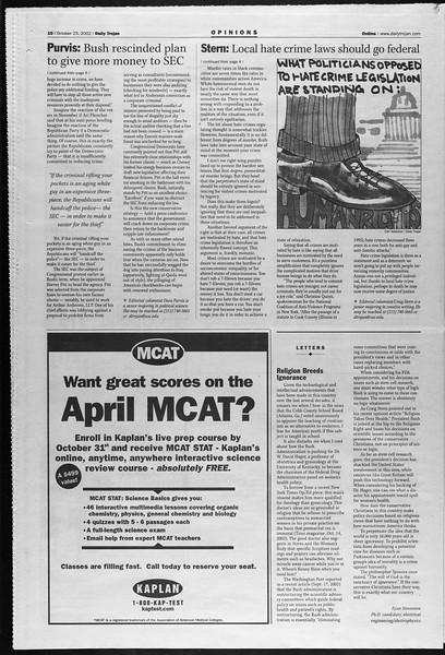 Daily Trojan, Vol. 147, No. 41, October 23, 2002