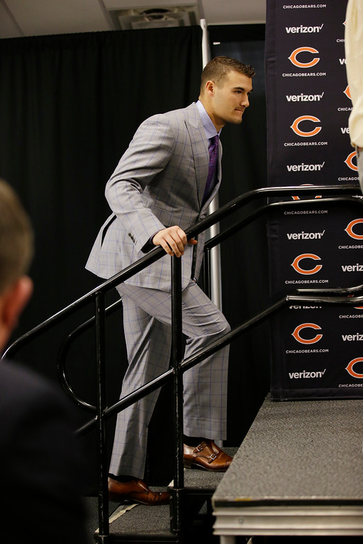 . Chicago Bears quarterback Mitchell Trubisky walk to the podium for a news conference after an NFL football game against the San Francisco 49ers, Sunday, Dec. 3, 2017, in Chicago. (AP Photo/Nam Y. Huh)