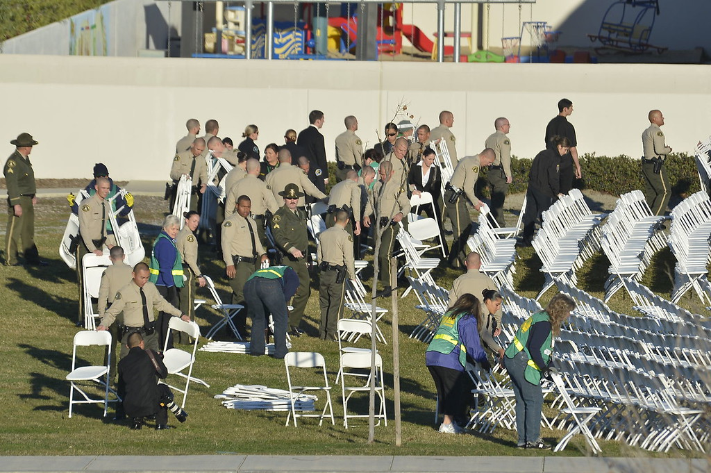 . Today\'s funeral for fallen Riverside police Officer Michael Crain is expected to draw thousands, including Gov. Jerry Brown. The service, to be held at 10:30 a.m. at Grove Community Church, 19900 Grove Community Drive in Riverside, has increased security.  (Jeff Gritchen/Staff Photographer)