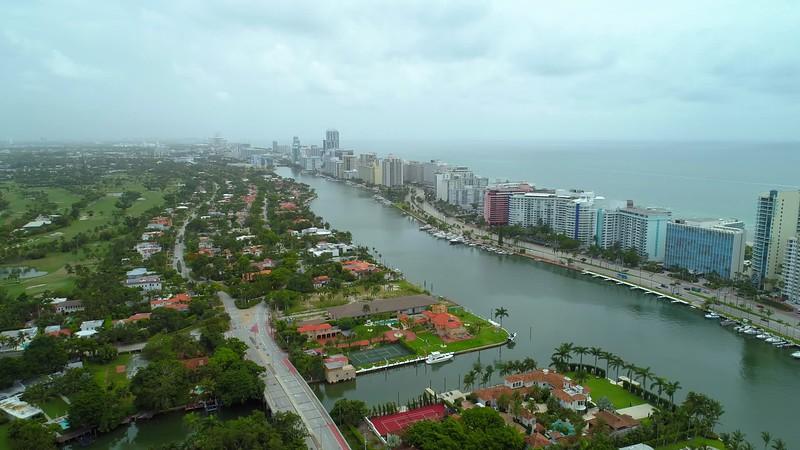 Drone aerial Miami Beach coastal city 4k