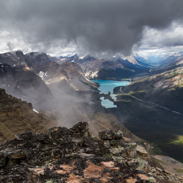 Misty morning - the Icefields Parkway winds through the Rockies beside Bow Lake. The speed of the clouds on the ridgeline would viel and unveil a new scene every couple of seconds. Very surreal and beautiful