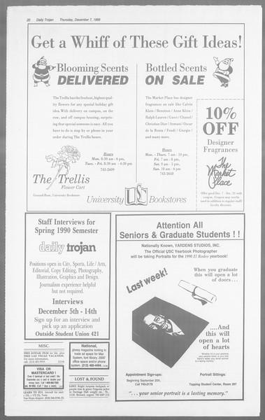 Daily Trojan, Vol. 110, No. 64, December 07, 1989
