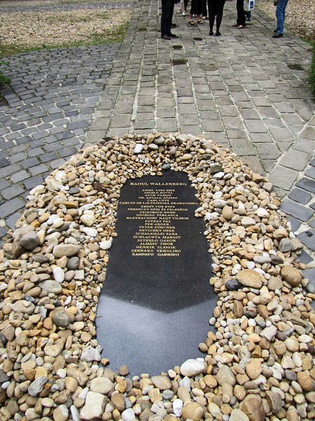 28-Memorial to Raoul Wallenberg and other Righteous Among the Nations. Stones placed on the marker by visitors have to be swept clear of the inscription.
