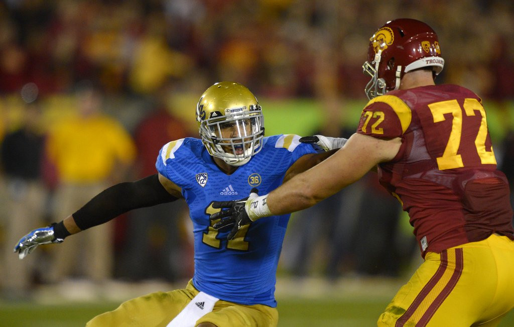 . <p><b>23. Kansas City: Anthony Barr, LB, UCLA. </b> <p>This is a guy the Vikings could trade down to snare. He\'s got good bloodlines considering father Tony Brooks and uncles Reggie Brooks and Cedric Figaro all played in the NFL.   (AP Photo/Mark J. Terrill, File)
