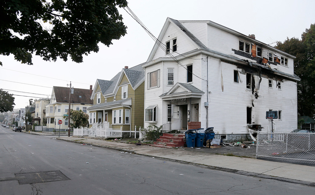 . A damaged house on Bowdoin Street in Lawrence Mass., is seen Friday, Sept. 14, 2018. The home was one of multiple houses that went up in flames on Thursday afternoon after gas explosions and fires triggered by a problem with a gas line that feeds homes in several communities north of Boston (AP Photo/Mary Schwalm)