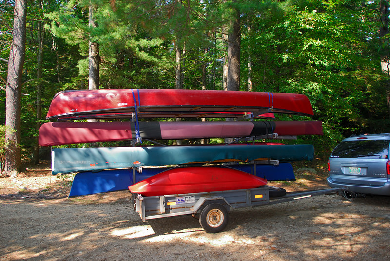Canoes waiting to be unloaded
