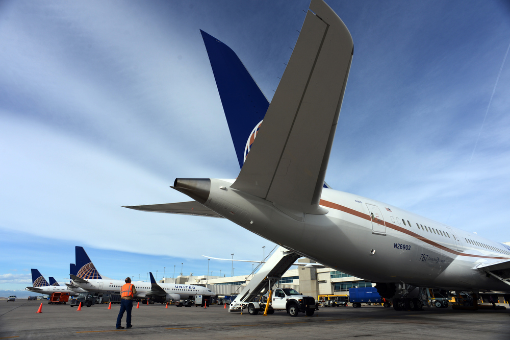 . United Airlines brought a 787 Dreamliner to Denver International Airport on Thursday, Nov. 29, 2012.  By March, the new jet is scheduled to begin flying between Denver International Airport and Japan\'s Narita International Airport. Craig F. Walker, The Denver Post