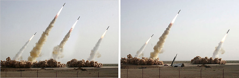 . July 2008: This image of an Iranian missile test appeared on the front page of the New York Times, Los Angeles Times, BBC News, Chicago Tribune, and others. The image was provided by the Iranian state media. After the publication of this photo, it was revealed that the second missile from the right is a digital clone from other parts of the image. This missile was digitally inserted to conceal a missile on the ground that did not fire.   SOURCE: http://www.cs.dartmouth.edu/farid/research/digitaltampering/