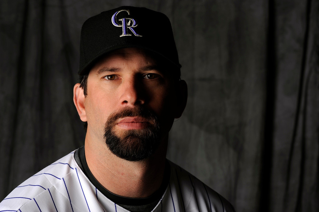 . Todd Helton sits for a portrait as the Colorado Rockies began the the 2008 season with full squad workouts in Tucson, Arizona.  John Leyba/ The Denver Post
