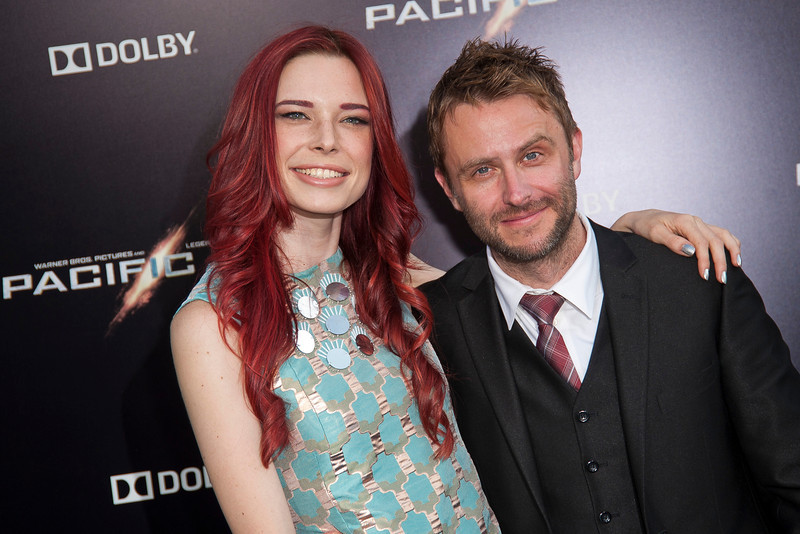 HOLLYWOOD, CA - JULY 09: Actor/TV personality Chris Hardwick (R) and Chloe Dykstra arrive at the premiere of Warner Bros. Pictures' and Legendary Pictures' 'Pacific Rim' at Dolby Theatre on Tuesday, July 9, 2013 in Hollywood, California. (Photo by Tom Sorensen/Moovieboy Pictures)