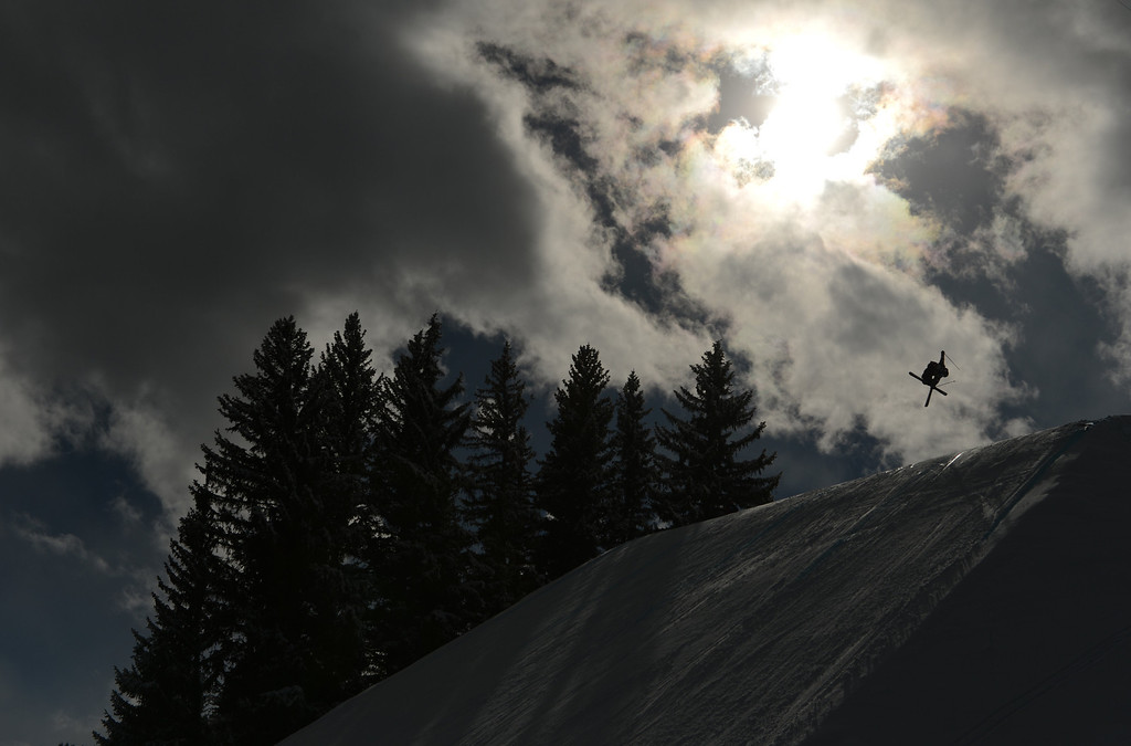 . ASPEN, CO. - JANUARY 27:  James Woods goes big on his third run during the Ski Slopestyle Men\'s Final, January 27, 2013. The 2013 Winter X Games at Buttermilk Mountain in Aspen. (Photo By RJ Sangosti / The Denver Post)