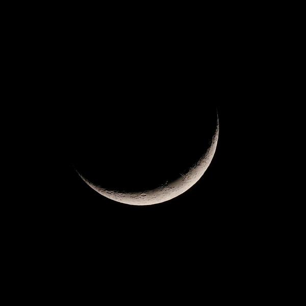 crescent moon at 7:32 pm