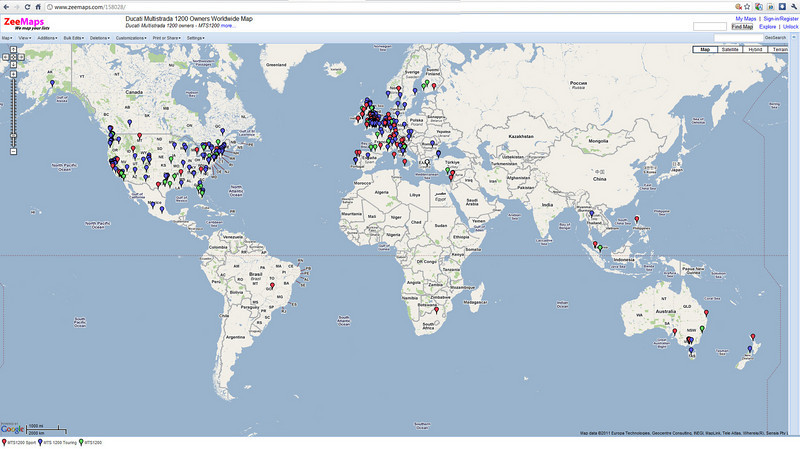 Ducati Multistrada 1200 (MTS1200) Owners Worldwide - MTS1200 Owners Map (snapshot image 26Jan2011 - 349 markers) - add your marker here:  http://www.zeemaps.com/map?group=158028