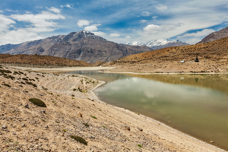 Dhankar lake in Himalayas. Dhankar, Spiti valley, Himachal Pradesh, India