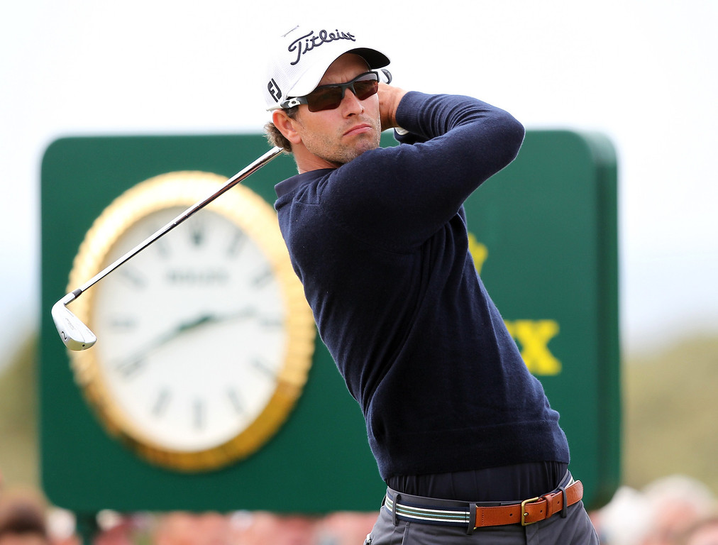 . Australia\'s Adam Scott tees off on the fourth during the fourth and final round of the 2013 British Open Golf Championship at Muirfield golf course at Gullane in Scotland on July 21, 2013 .     PETER MUHLY/AFP/Getty Images