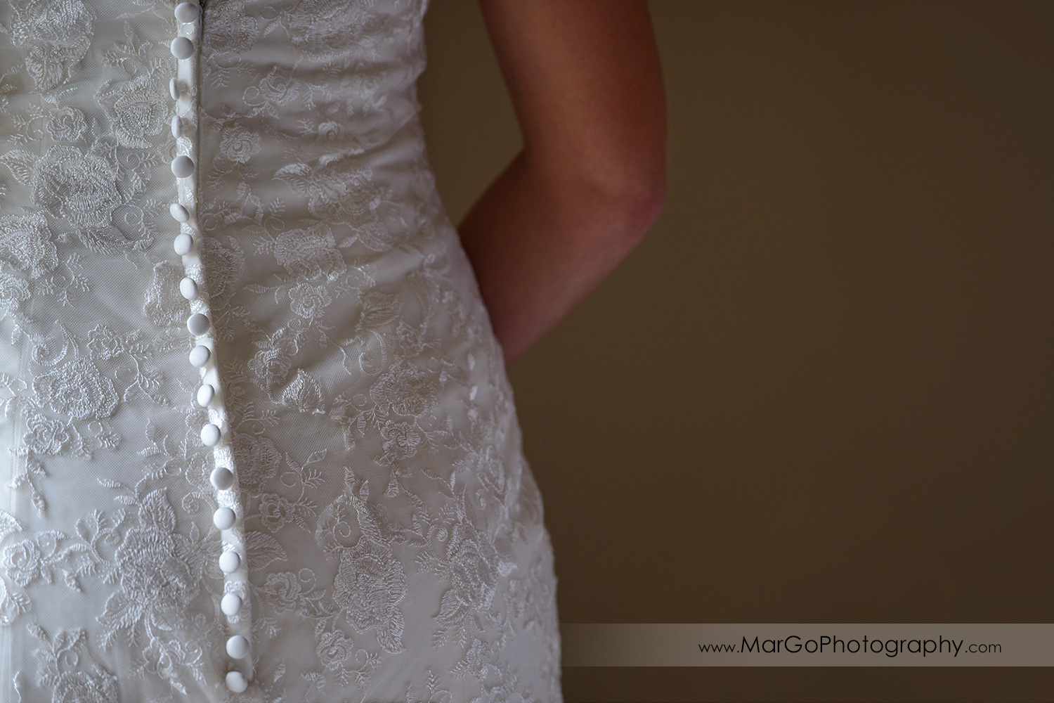 back of wedding dress at Berkeley City Club